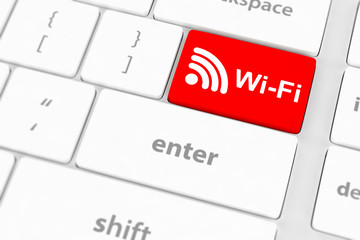 wifi concepts, with message on enter key of computer keyboard.
