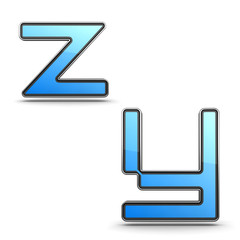 Letters Y, Z - Set in Touchpad Style.