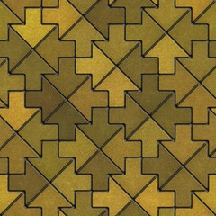 Mosaic Paving Slabs as Arrow in Yellow Mustard Tones.