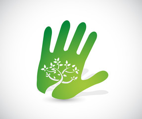 green handprint illustration design