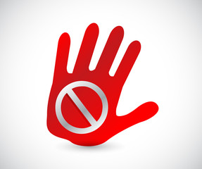 do not sign on a handprint illustration