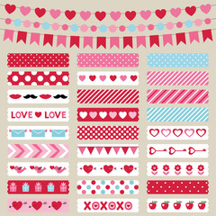 Valentines Day decoration and washi tapes set