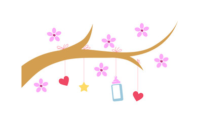 Illustration in flat style for baby sites