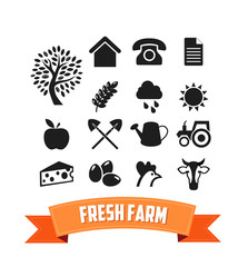 Set of Agriculture Icon for Farm Web Site