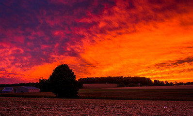 Sunset over a farm in rural York County, Pennsylvania.