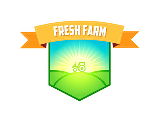 Emblem for Farm Company, Tractor in a field in the morning