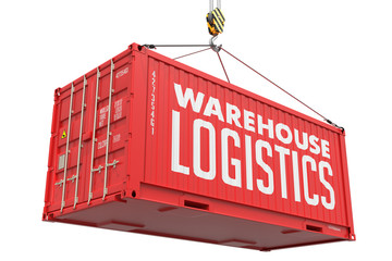 Warehouse Logistics on Red Metal Container.