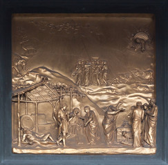 Noah Bronze Bas Relief - Florence Baptistery