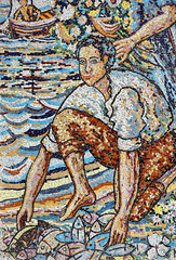 Fisherman, mosaic, Spain