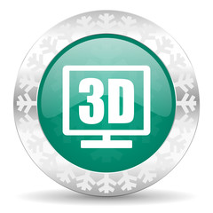 3d display green icon, christmas button