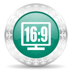16 9 display green icon, christmas button