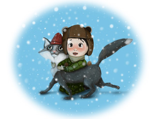 "Graphic illustration ""Boy with a cat"""