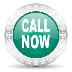 call now green icon, christmas button