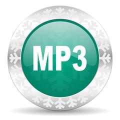mp3 green icon, christmas button
