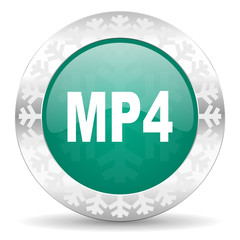 mp4 green icon, christmas button