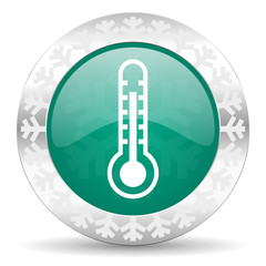 thermometer green icon, christmas button, temperature sign