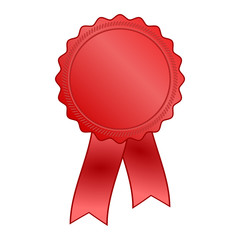 red award rosette with ribbon
