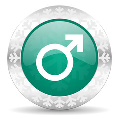 male green icon, christmas button, male gender sign