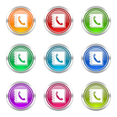 phonebook colorful web icons vector set