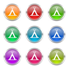 camping colorful web icons vector set