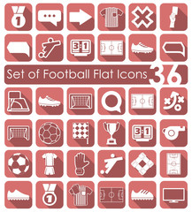 Set of football flat icons