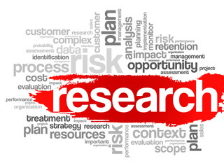 Word Cloud with Research related tags, vector business concept