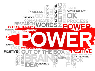 POWER. Word business collage, vector background