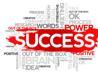 SUCCESS. Word business collage, vector background