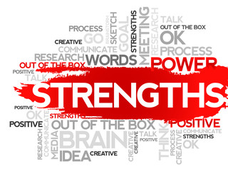 STRENGTHS. Word business collage, vector background