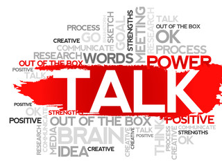 TALK. Word business collage, vector background