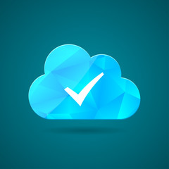 Blue cloud icon and white check