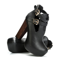 fashionable stiletto high heels shoes in black and brown