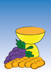 Chalice with bread and grapes