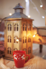 Christmas Room Interior Design with cup Indoors