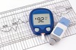 Leinwanddruck Bild - Testing blood glucose level. Test for diabetes before pregnancy