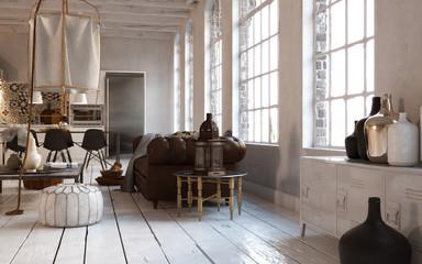 wohnbereich in Altbau Loft - Living area in white old loft
