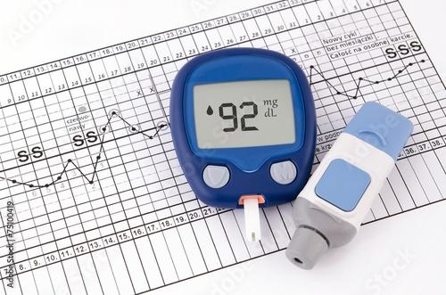 Leinwanddruck Bild Testing blood glucose level. Test for diabetes before pregnancy