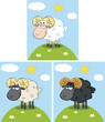 Cute Ram Sheep Cartoon Character On A Hill. Collection Set