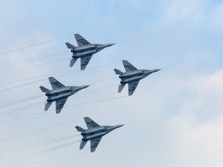 Russian military jet planes in sky