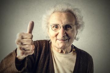 Grandma with thumbs up