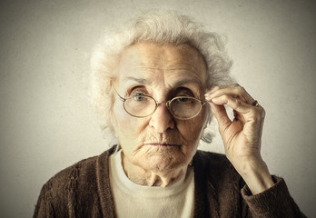 Elderly woman looking straight into the camera