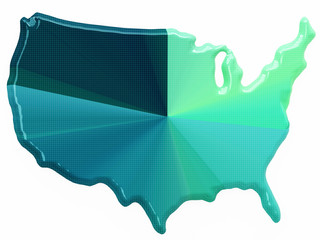 Color map of USA in 3d style