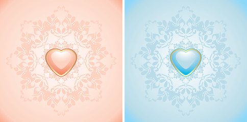 Decorative elements with pink and blue hearts