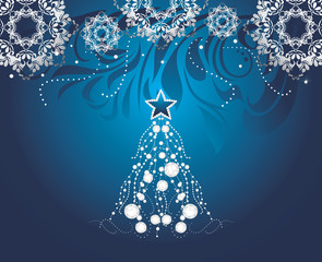 Shining Christmas tree on dark blue background with snowflakes