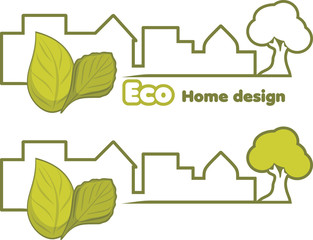 Eco home design. Two icons for design