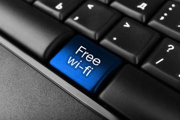 Close up of Free Wi-Fi keyboard button