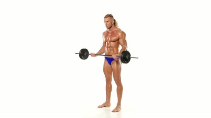 Portrait of strained athlete bodybuilder lifting rod on a white
