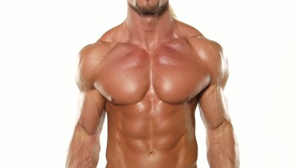 Close up young muscular man bodybuilder with a bar exercises the