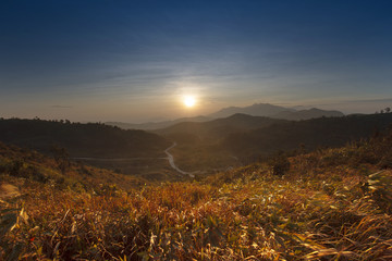landscape of mountain view and sun rising sky use as natural bac