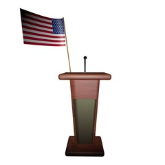 Podium and USA flag